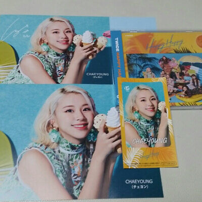 """TWICE """" HappyHappy """" Photo Card Flyer + Post Card + Sitcker + CD Set Chaeyoung"""