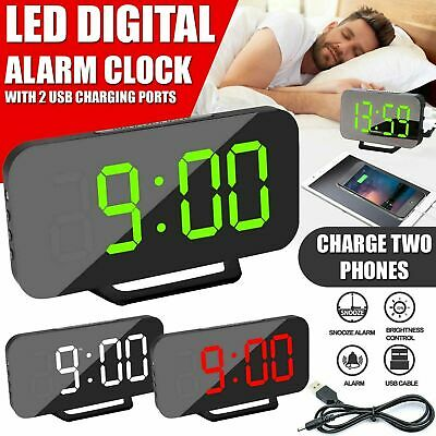 New Digital LED Mirror Alarm Clock Dimmable LED Light Sensor Time Bedside Clock