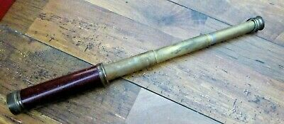 Antique Dollond London Wood and Brass Three Draw Telescope