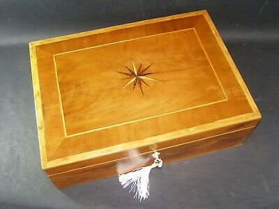 Antique A4 Document Box c1890 Star Center,Cross Banding Edge & Boxwood Stringing