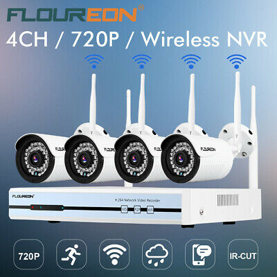 WiFi CCTV 1080P DVR NVR +4CH Wireless 720P IP Camera Security Video Recorder EU