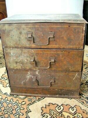 Antique VICTORY V Tin in the form of a Faux wood Chest Of Drawers. RARE