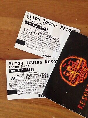 2 X Alton Towers Tickets - Saturday 12th October 2019. Including Scarefest