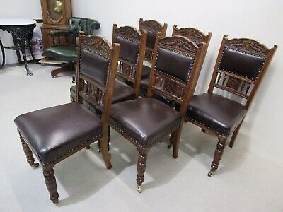 Set Of 6 Victorian Oak Leather Dining Chairs Superb Colour Genuine Antique Chair