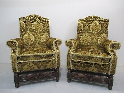 Pair Of Oak Antique Library Chairs Fire Side Chairs Superb Quality Chairs