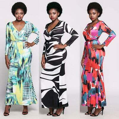 Long Sleeve Plunge Collar Boho Styles Front Cross Maxi Print Casual Dress WST 03