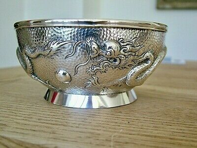 Superb Quality Antique Chinese Export Solid Silver Bowl Dragons Pearl Hammered