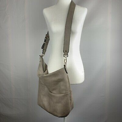 Urban Expressions Womens Gray Large Crossbody Tote Bag Purse