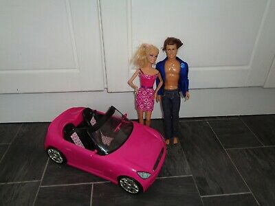 lovely barbie doll bundle,convertible pink car+ barbie and ken dolls