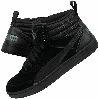 Men's Puma Rebound Street V2 SD Black Suede High Top Basketball Boots Trainers