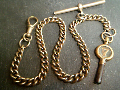 Antique Gold Plated Albert Pocket Watch Chain with a Number 7 Watch Key