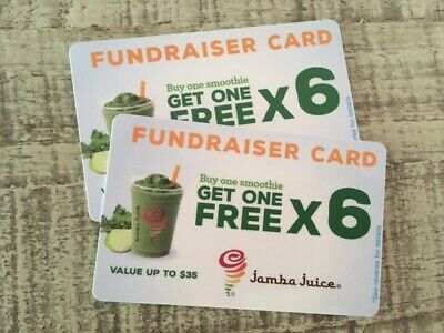 (2) Jamba Juice BOGO Buy One Get One Free Gift CardS $70 Value, 6 uses, smoothie