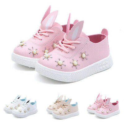 Children Toddler Baby Pearl Ears Sneaker Girl Soft Anti-slip Bunny Cartoon Shoes