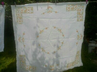 "Very Pretty Pale Cream Linen Hand Embroidered Tablecloth 48"" X  47"""