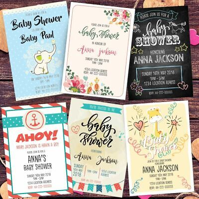 Personalised Baby Shower Invitations Quality Printing Invites Free Envelopes
