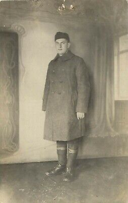 RPPC European French? WWI Soldier In Art Nouveau Room Real Photo Postcard 1910s