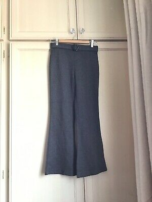 M&S Girls Grey School Trousers With Flower Belt. Size 10 Years. Worn Once