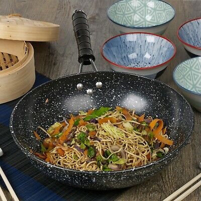 """Black Marble Carbon Steel Induction Wok Chinese Non Stick Frying Pan 30cm 12"""""""