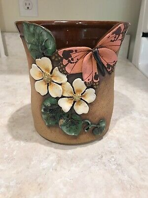 "Original '09 Old Patagonia Pottery 5 3/4"" Raised Butterfly & Flowers Vase Signed"