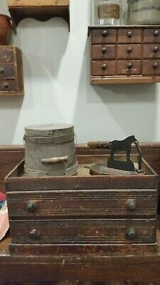 Old Primitive Antique County Store Two Drawer Storage Box Cabinet Chest.. Aafa