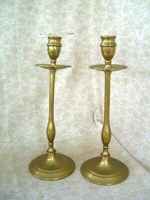 """PAIR OF VINTAGE HEAVY BRASS CANDLE STICK HOLDERS TABLE ~ 12"""" tall"""