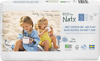 Eco by Naty - Premium Disposable Nappies for Sensitive Skin, Size 3, 2 Packs of