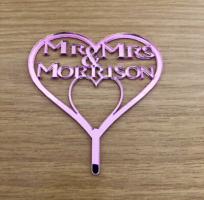Personalised Mr & Mrs Wedding Heart Cake Topper/Anniv Cakes Pink Mirror Acrylic