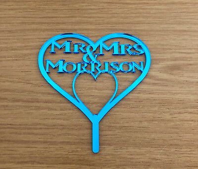 Personalised Mr & Mrs Wedding Heart Cake Topper/Annive Cakes Blue Mirror Acrylic