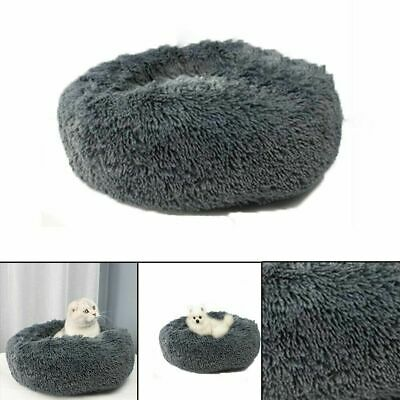Pet Calming Bed Round Nest Faux Fur Donut Cat Dog Beds Self Warming US Stock