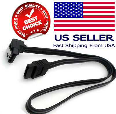 """18"""" SATA 3.0 Cable 6GB/s Right Angle 90 Degree for DVD HDD Hard Drive Black NEW"""