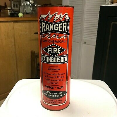 VINTAGE RANGER DRY Chemicals Fire Extinguisher, In Tin Can