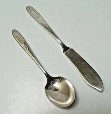 Antique 1921 Community Plate Grosvenor Silverplate Sugar Spoon 1920 Community Plate Spoon 1920 Art Deco Silverplate Spoon and Knife