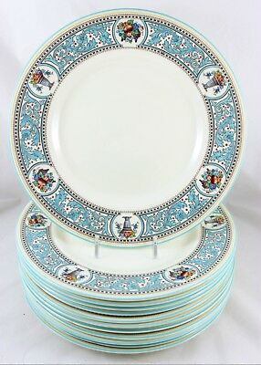 SET(s) 6 DINNER PLATES ROYAL DOULTON CHINA SOMERSET RAISED ENAMEL TURQUOISE RED