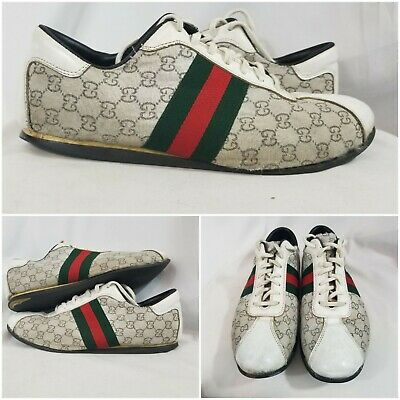 9bea09e2c GUCCI Men's Shoes Vintage Sneakers Logo Leather Canvas Suede US 12 ~ Italy  45G