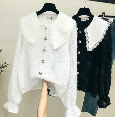Womens White Lace Doll Collar Long Sleeves Casual Shirt Fashion Blouses Tops