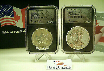 2019 Pride Of Two Nations 2 Coin Silver Set ~ Ngc Pf70 Fdi ~ Rare Canada Set