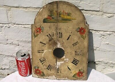 Antique Wood Wooden Longcase Clock Dial Face - Hand Painted ?? - As Is