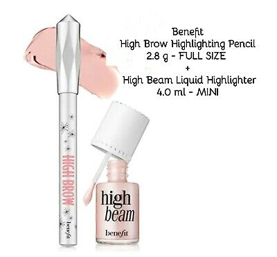 Benefit❤FULL SIZE High Brow Pencil + High Beam Liquid Highlighter MINI❤AUTHENTIC
