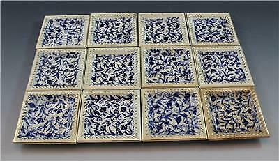 19C John Moses Glasgow Pottery Set of 12 Butter Pats Ironstone China Blue Floral