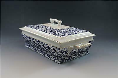 19C John Moses Glasgow Pottery Covered Serving Dish Ironstone China Blue Floral