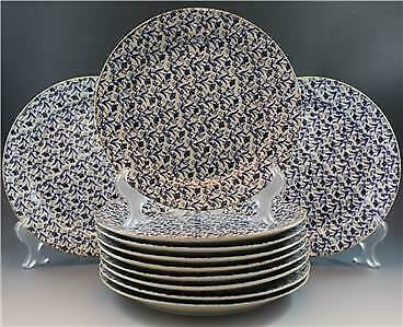 19C John Moses Glasgow Pottery 10 Dinner Plates Ironstone China Blue Floral