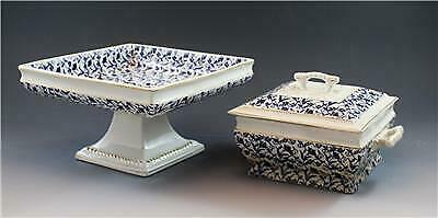 19C John Moses Glasgow Pottery Square Compote & Dish Ironstone China Blue Floral