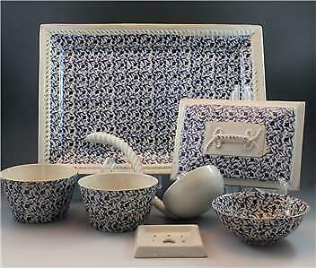 19C John Moses Glasgow Pottery 7 Piece Group Lot Ironstone China Blue Floral