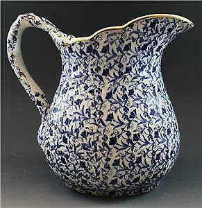 19C John Moses Glasgow Pottery Small Water Pitcher Ironstone China Blue Floral