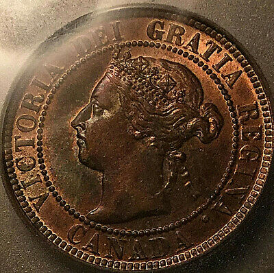 1900H CANADA LARGE CENT PENNY - ICG Red/brown AU-58