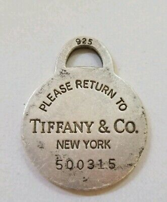 TIFFANY & Co. Please Return Sterling Silver  Round Tag. Well Used Large