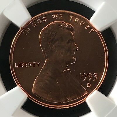 1993-D 1C RD Lincoln Memorial One Cent NGC MS69RD                  4474343-008c