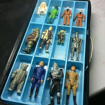VINTAGE SPACE CASE W/ 18 FIGURES: Star Wars, Battle Star Galactica, and more!