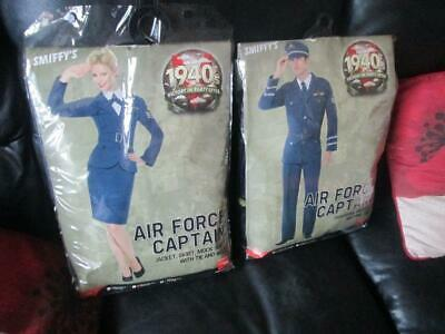 2 Airforce Captain 1940'S Fancy Dress  1 Male 1 Female Used Once Freepost
