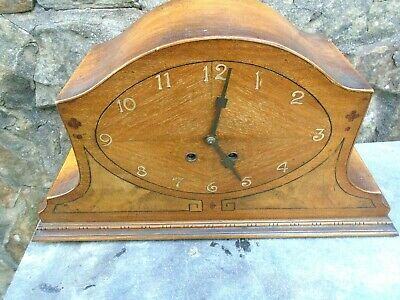 1930's ART DECO INLAID WALNUT MANTLE CLOCK